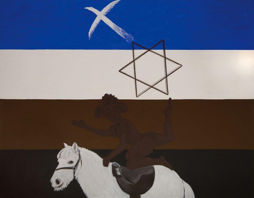 Co, Gwiazda Dawida; Czym Anarchicznymi nożkami, tempera jajowa, plótno, 180x230 , 2015